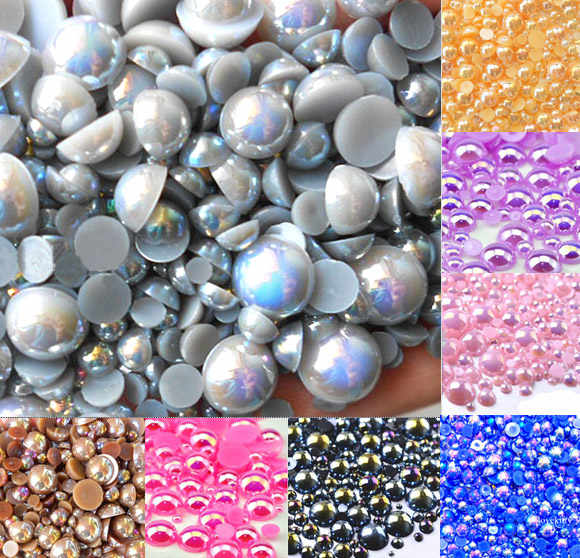 500pcs 2-10mm Gray AB Color Half Round Pearl Bead FlatBack Scrapbook Craft Cabochon Kawaii DIY Embellishments Accessories
