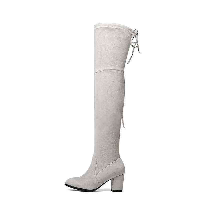 ESVEVA 2020 Üzerinde Diz Çizmeler Kış Yuvarlak Ayak Sıcak Kadın Botları Bayan Kısa Peluş + Streç Kumaş Moda Botları büyük Boy 34-43
