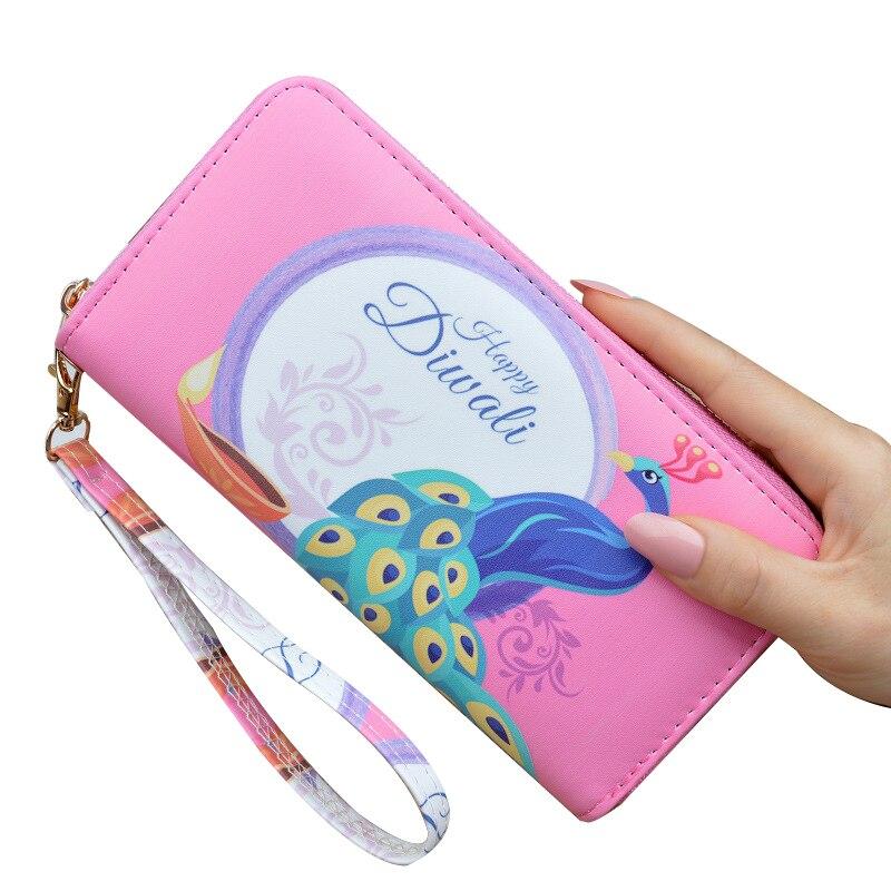 Wallets zipper card holder Rfid women wallet fancy feminina clutch wrist strap lady travel cheque portefeuille carteira feminina