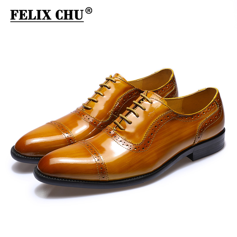 FELIX CHU Brand Classic Patent Leather Men Cap Toe Brogue Oxford Lace Up Wedding Banquet Office Male Brown Dress Shoes #E7156-25 felix chu luxury classic genuine leather men wedding brogue oxford with wingtip lace up burgundy office party formal dress shoes