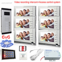 8GB SD Card Recording Video Intercom System Door Bell With Camera For 6 Apartments Doorphone With