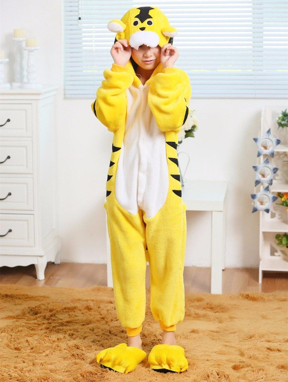 Yellow Tiger Flannel Costumes Jumpsuit For font b Children b font Kids Onesie font b Pajamas