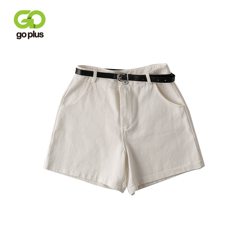 GOPLUS   Shorts   Women Summer High Waist   Shorts   With Belt Womens Solid Casual Loose Solid White Black Zipper Fly   Shorts   Femme C7506