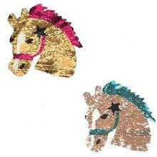 Shinequin diy симпатичная лошадь флип двусторонние нашивки для