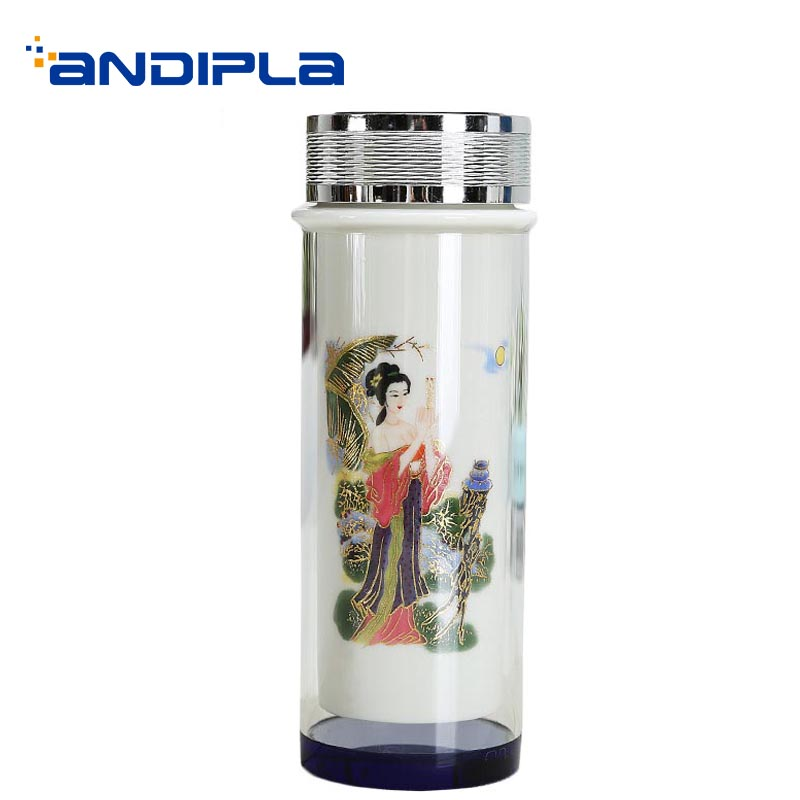 Chinese Style Double Ceramic Heat-resistant Glass Water Bottle Office Drinkware Sent Friends Tea Cup With Lid Kit Straight Cups