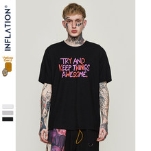 INFLATION Try and keep things awesome T-shirt 2019 Summer O-neck T Shirt Cotton Streetwear Hip hop Couple Tee 91165S(China)