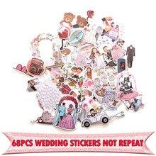 68 шт., креативные Значки для свадебной тематики, декоративные наклейки, Мультяшные наклейки для самостоятельной сборки, настенные наклейки для ноутбука, чехол для телефона, скрапбукинг, альбом E0001