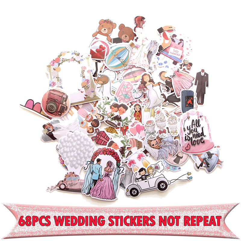 68pcs Wedding Theme Creative Badges DIY Decorative Stickers Cartoon For DIY PC Wall Notebook Phone Case Scrapbooking Album E0001