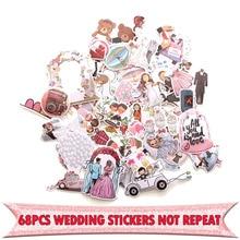 68 Uds. Insignias creativas de temática de boda DIY pegatinas decorativas de dibujos animados para DIY PC pared y portátil funda de teléfono álbum de recortes E0001