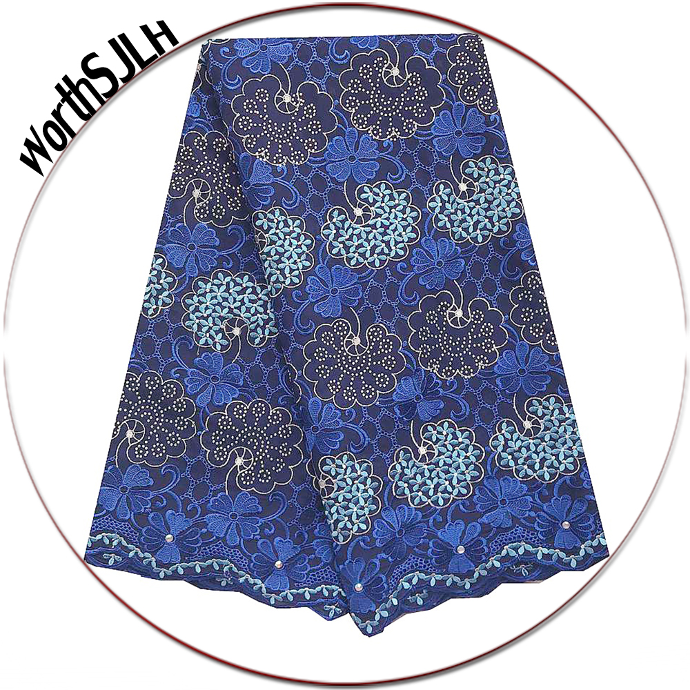Nigerian Lace Fabric 2019 High Quality Magenta Royal Blue Lace Fabric Men Swiss Voile Cotton Lace Material For African Women