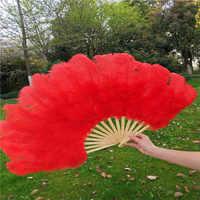 AA-tesco Red Penas de Avestruz Fan Burlesque Showgirl & Boudoir Decorativo Pena Fã de Dança Adereços De Casamento Festa