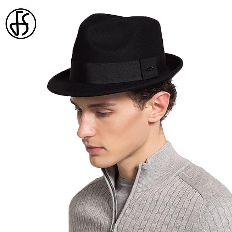 82b6492e55bd1 Sombreros negros para hombre Fedora sombrero de fieltro para caballero  Panamá sombrero de fieltro de otoño invierno 100% lana Astralia estilo Jazz