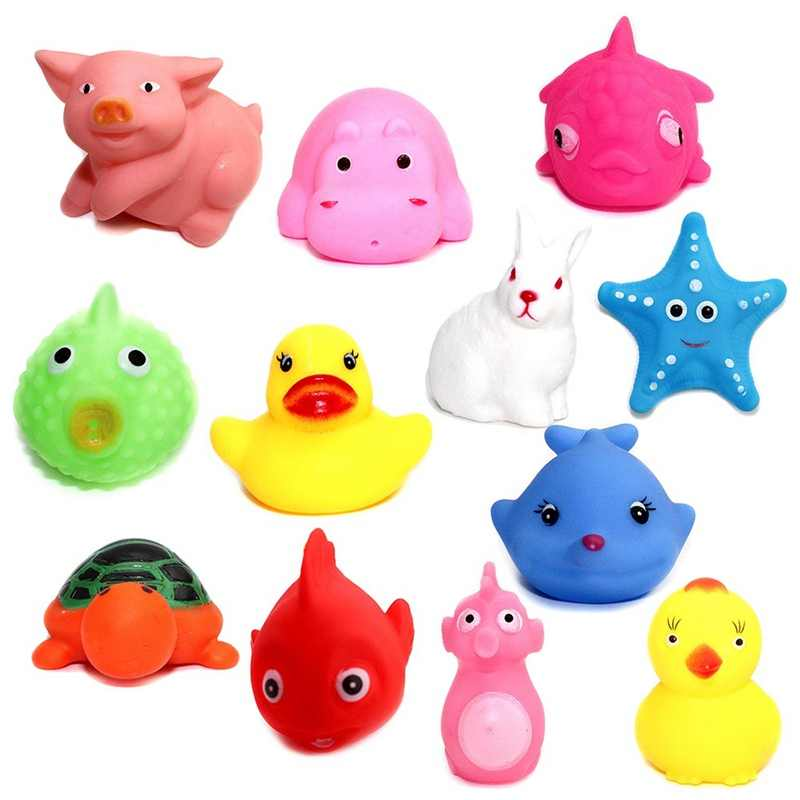 Baby Cute Animals Shower Water Toys Colorful Soft Floating Rubber Duck Squeeze Sound Squeaky Bathing Toy For Baby Bath Toys
