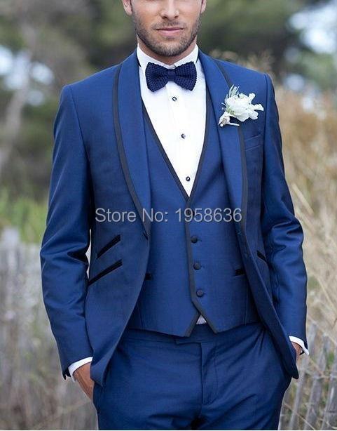 Blue Color 3 Piece Design New 2016 Blazer Pant Jacket Fashion Custom
