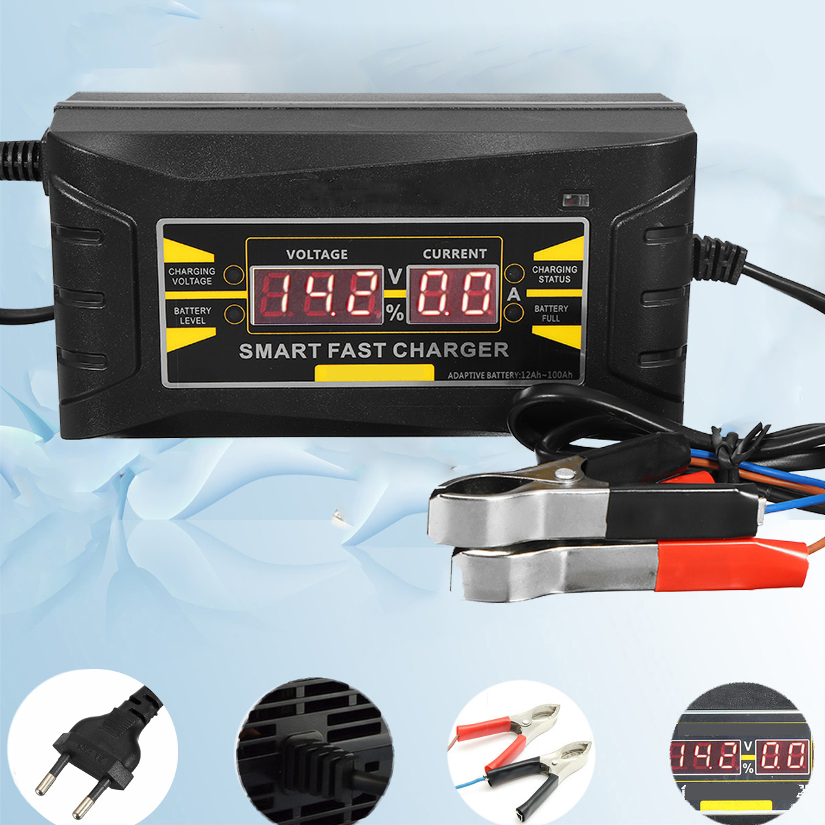 Full Automatic Car Battery Charger 110V/220V To 12V 6A Digital display Smart Fast Power Charging for Car MotorcycleFull Automatic Car Battery Charger 110V/220V To 12V 6A Digital display Smart Fast Power Charging for Car Motorcycle