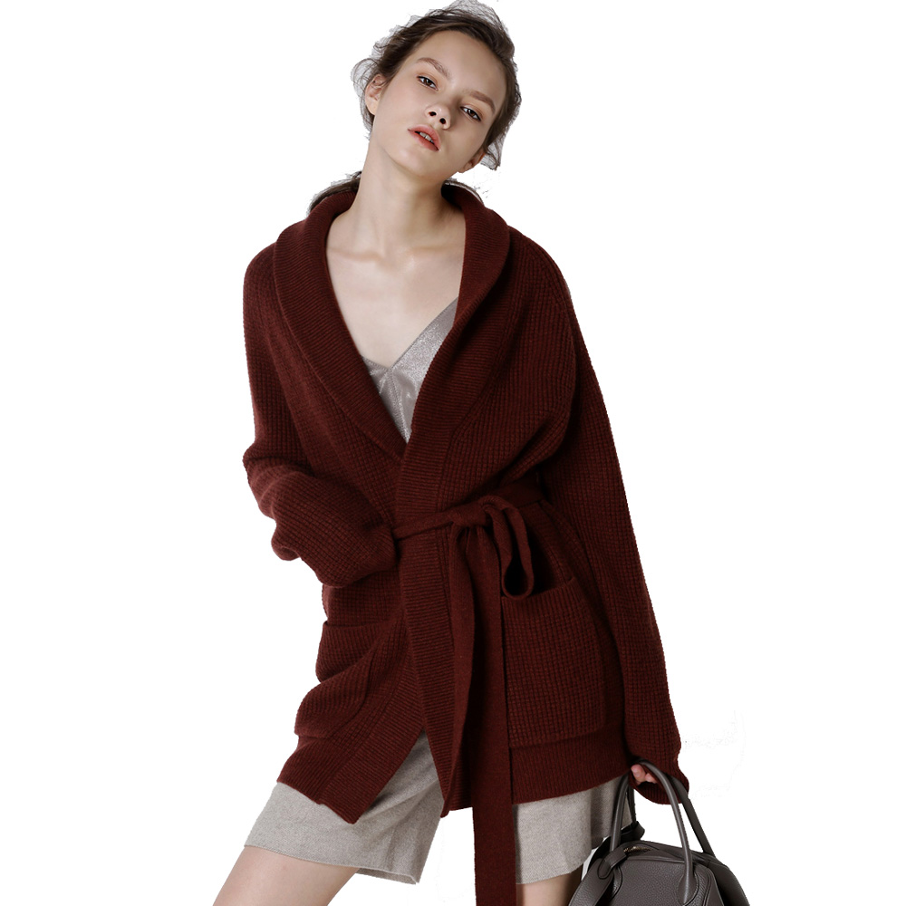 Cardigans Point Laine Épaissir Outwear Chandail vert Cardigan Ceinture Haut Long Hiver Beige Gamme De bourgogne Femmes Automne Manteau Avec 2018 Cachemire Ouvrir UqOw8ZUv