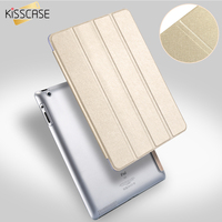 KISSCASE Luxury Four Folding Case For Apple IPad 2 3 4 Case Ultra Thin Silk Stand