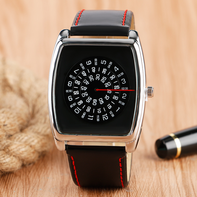 Hot Sale Rectangle Dial Case Wristwatch Arabic Numbers Turntable Fashion Leather Band Strap Men Women Quartz Watch new arrival bamboo men wristwatch classic arabic number dial genuine leather band strap trendy gift quartz watch