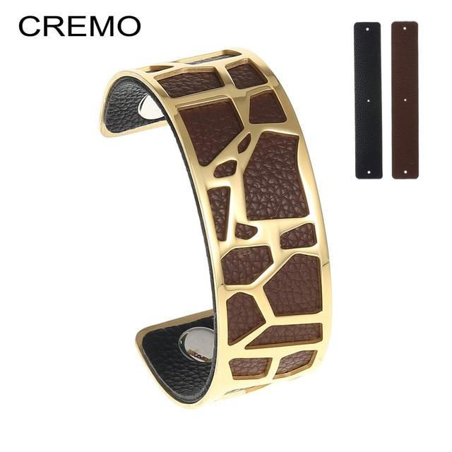 Cremo Giraffes Cuffs Bracelets Manchette Zebra Leather Cuff Bracelet Acier Interchangeable Stainless Steel Reversible