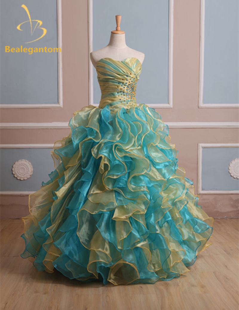High Quality In Stock Quinceanera Dresses Ball Gowns 2019 Organza Tiered Crystal Dress 15 Years Vestido 15 Anos Debutante W45