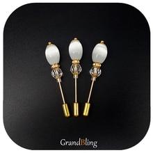 Oval Opal Beads Long Pins Brooch Handmade Hijab Wholesale