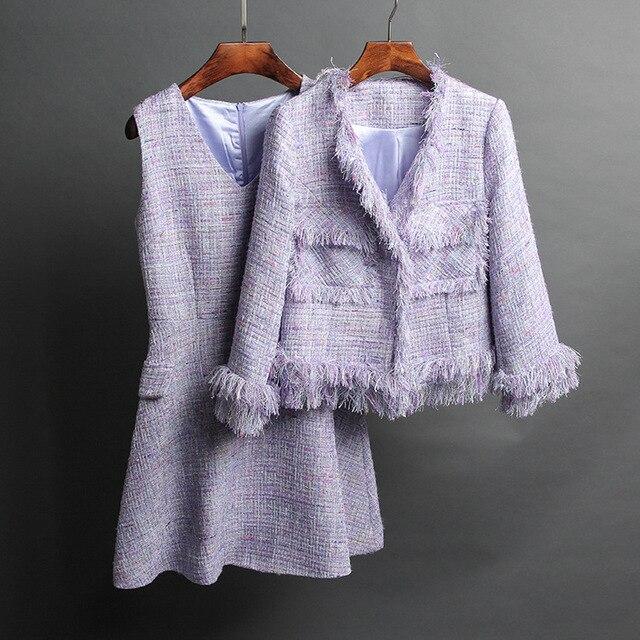 lowest price 8ef2c 959ef US $262.0  Due pezzi abiti da donna casaco feminino giacca e gonna set,  tweed crop top elegante ufficio mujer completo più il formato 5xl 6xl in  Due ...