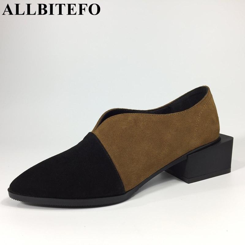 0a667b0f5 Allbitefo/полный натуральная кожа на низком каблуке Смешанные цвета женские  туфли-лодочки модный бренд с острым носком на толстом каблуке Дамская обувь  ...