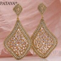 PATAYA New Hollow Earring 585 Rose Gold Water Drop Natural Zircon Long Stud Earrings Women Wedding Party Luxury Noble Jewelry