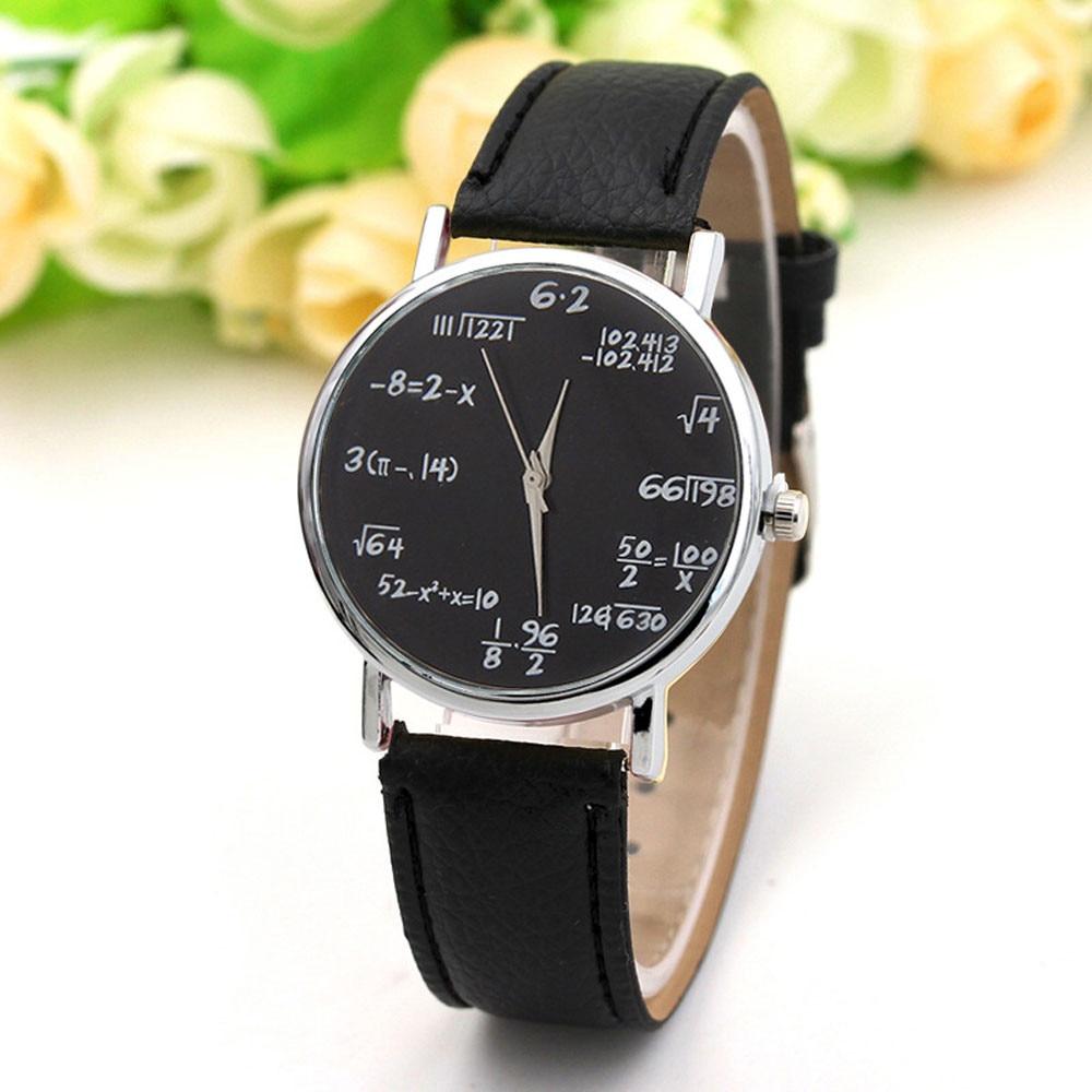 חדש מותג סימולציה קוורץ גבירותיי שעון מתמטי משוואת הדפסת חגורת עור נשי שעון אופנה נשים ללבוש תכשיטי Fi