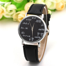 New brand simulation quartz ladies watch mathematical equation printing leather