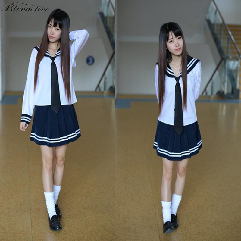 Camisa branca + Vestido Azul Escuro venda Japão Anime Cosplay roupas Traje uniforme  escolar uniformes escolares para as meninas LY5 a10a04ed8fa5b