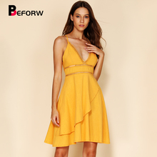 BEFORW 2019 Women Spaghetti Strap Lace Hollow Out Mini Dress Cotton Sexy Sleeveless V Neck Yellow Dresses Casual Beach