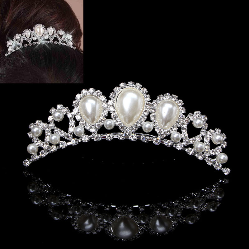 Bridal Jewellery Silver Rhinestone Wedding Crown Faux Pearl Hair Clip Comb Tiara