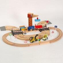 Деревянный поезд трек аксессуары для дистанционного управления RC электрический маленький поезд деревянная железная дорога игрушки для ребенка подарок