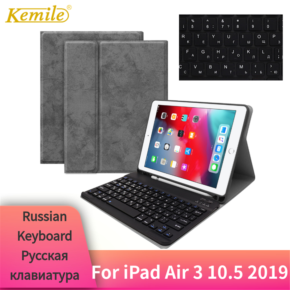 For iPad Air 3 10.5 inch 2019 Case Bluetooth Keyboard W Pencil holder Leather Cover For iPad Air 3 10.5 Case Russian KeyboardFor iPad Air 3 10.5 inch 2019 Case Bluetooth Keyboard W Pencil holder Leather Cover For iPad Air 3 10.5 Case Russian Keyboard