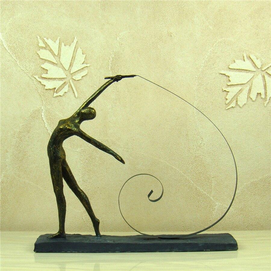 Gymnastics Girl Figure Sculpture Abstract Resin Calisthenics Statuette Sport Prize Decor Iron Art and Craft Ornament