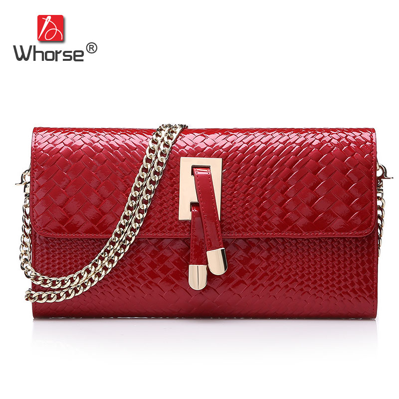 Knitting Pattern Design Fashion Chain Genuine Leather Womens Shoulder Messenger Bags Handbag Large Clutch Bag For Women W00590 chic simple design branch pattern body chain for women