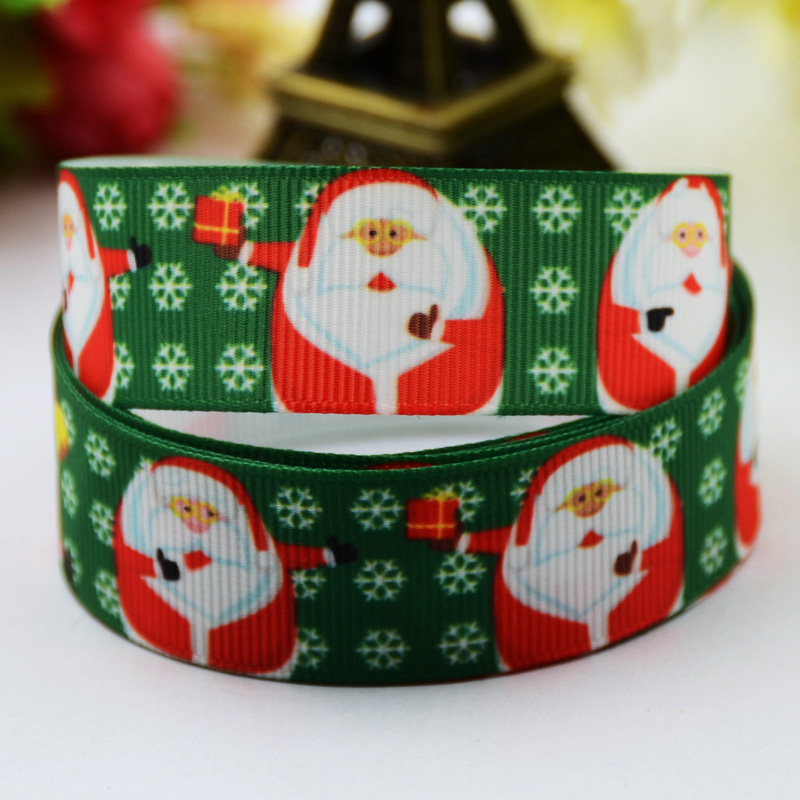 Christmas Cartoon Character Printed Grosgrain Ribbon Party Decoration Satin Ribbons X-00502 Oem 10 Yards High Quality Inventive 7/8 22mm