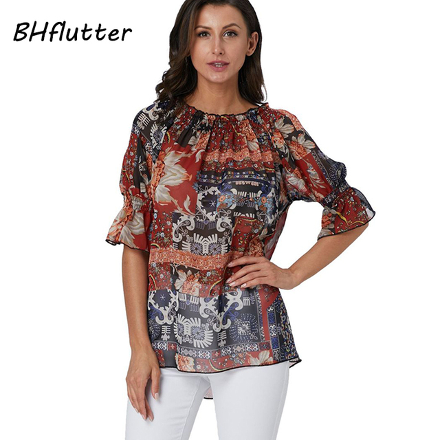 d25a2913d BHflutter Women Summer Tops and Blouses Plus Size 2019 Floral Print Chiffon  Shirts Boho Casual Loose Blouse Tunic blusas mujer