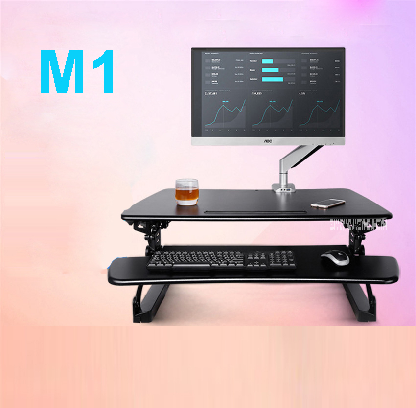 M1 EasyUp Height Adjustable Sit Stand Desk Riser Foldable Laptop Desk Notebook/ 890*590mmMonitor Holder Stand With Keyboard Tray