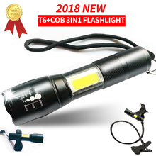 Cree XML T6 Led 18650 COB Light Flashlight Torch Rechargeable 18650 Battery Zoomable 5000 Lumen PowerTactical Flashlight Lantern