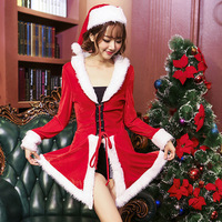 2017 Santa Christmas Vent Dress Fancy Xmas Party Cosplay Costumes Adult Women Unique Outfits Hat Dropship