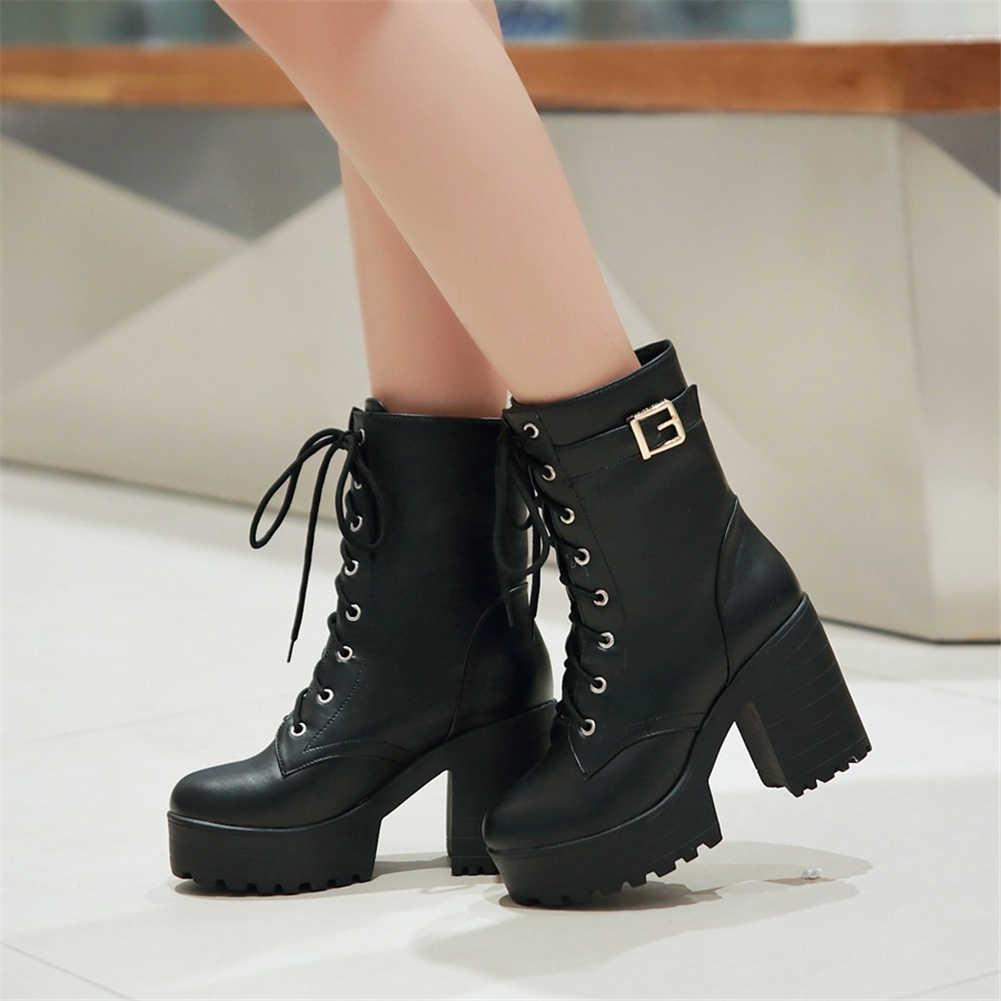 BONJOMARISA Yeni Sıcak Satış Dropship 34-43 Platformu yarım çizmeler Kadın dantel-up Motosiklet Patik Bayanlar Yüksek Topuklu Ayakkabılar kadın