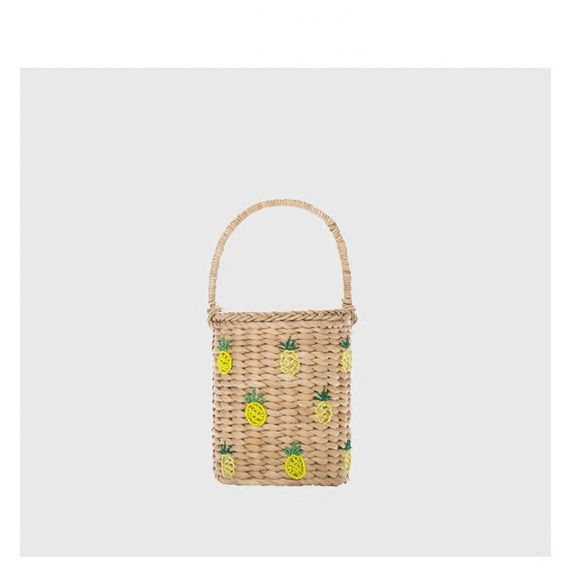 Handmade Pineapple Embroidery Beading Mini Portable Plaited Sandy Sunshine Straw Beach Tote Handbag bolsa feminina