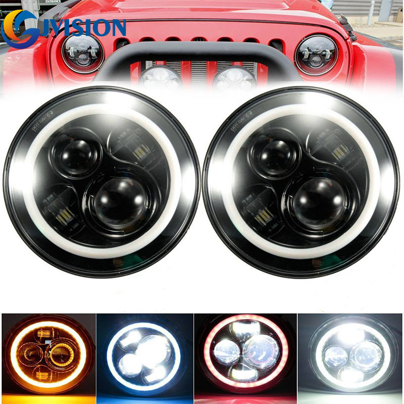 2 pcs 7inch LED Halo Ring headlights Kit 7'' led Off road lights DRL Turn signal FOR Jeep 97-15 Wrangler JK CJ TJ Hummer