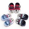 12 par/lote Zapatos de Bebé de Dibujos Animados de Moda Caliente 3 Colores Recién Nacido a 18 M Del Niño Soft Bottom High Top Primer Caminante Del Bebé Zapatos