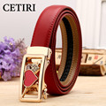 Love Gift Fashion Romantic 100% Genuine Leather Belts For Women Red White Black Pin Buckle Belts Good Quality Waist Strap