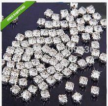 Frete grátis 360 pçs 5mm claro prata costurar-em vidro diamante strass cristal m09