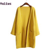 2015 Ulzzang Girl Casual Long Knitted Cardigan Autumn Korean Women Loose Solid Color Pocket Design Sweater