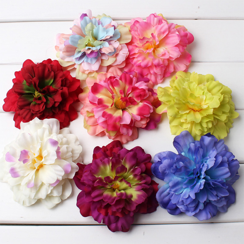 6 Pics Peony Artificial Flowers Mini Silk Flower Head For Hat Home